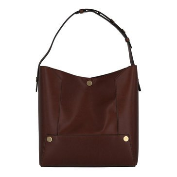 Stella McCartney Small Hobo Textured Eco After Nappa Popper Cognac