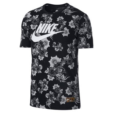 Nike Men's Allover Floral Tee in Black