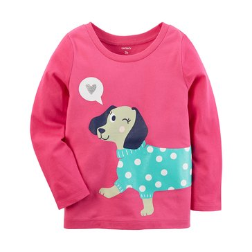 Carter's Baby Girls' Long Sleeve Tee, Dog