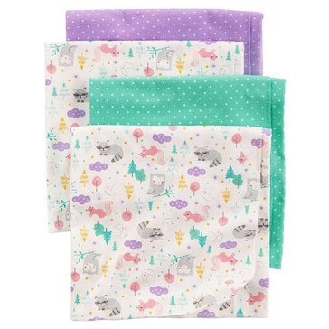 Carter's Baby Girls' 4-Pack Receiving Blankets, Animals