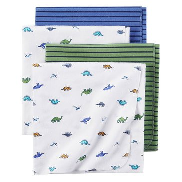 Carter's Baby Boys' 4-Pack Receiving Blanket, Dino