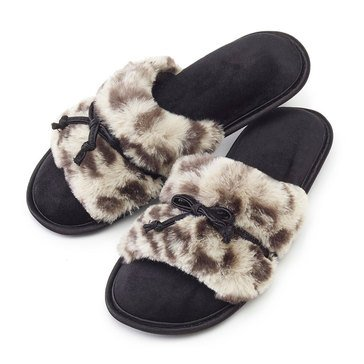 Totes Fur Bonita Slide Gray Cheetah