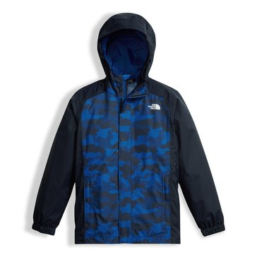 The North Face Big Boys' Resolve Rain Jacket, Cosmic Blue Camo Heather