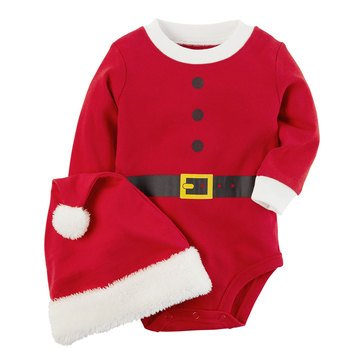 Carter's Newborn Christmas Bodysuit and Hat Set, Santa