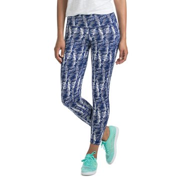 Vineyard Vines Fishbone Print Performance Legging in Commodore Blue