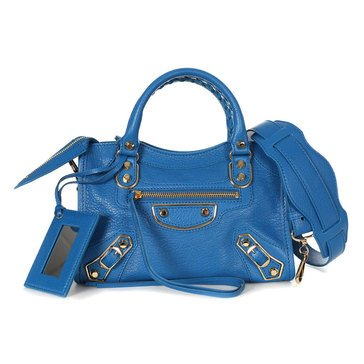 Balenciaga Mini City Satchel Metallic Edge Hardware Blue