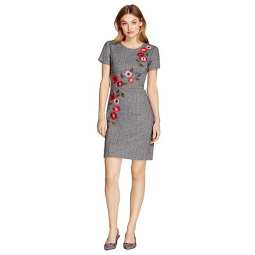 Brooks Brothers Short Sleeve Herringbone Dress With Floral Embroidery in Black/ White