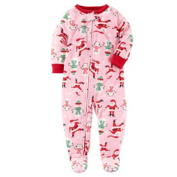 Carter's Baby Girls' Fleece Christmas Pajamas, Santa