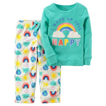 Carter's Baby Girls' 2-Piece Fleece Pajamas, Woke Up Happy