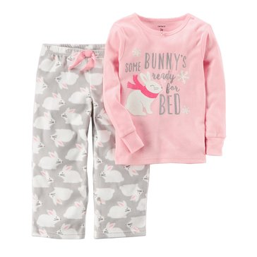 Carter's Baby Girls' 2-Piece Fleece Pajamas, Bunny