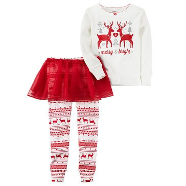 Carter's Baby Girls' 3-Piece Cotton Christmas Tutu Pajamas, Reindeer