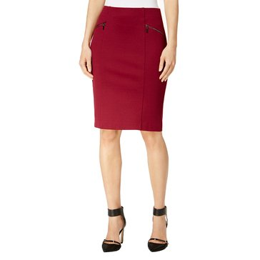Alfani Zip Pocket Pencil Skirt in Malbec