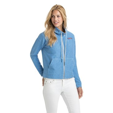 Vineyard Vines Heather Full Zip Jacket with Patch Logo in Cornflower Blue