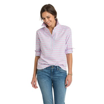 Vineyard Vines Coastside Stripe Hi Lo Popover Shirt in Light Magenta