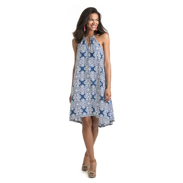 Vineyard Vines Mirrored Leaves Print A-Line Halter Dress in Moonshine
