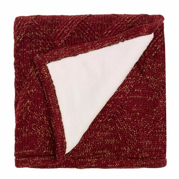Martha Stewart Collection Metallic Sweater Knit Throw, Burgundy