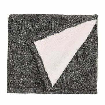 Martha Stewart Collection Metallic Sweater Knit Throw, Grey