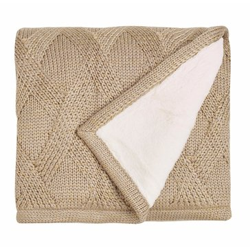 Martha Stewart Collection Metallic Sweater Knit Throw, Oatmeal