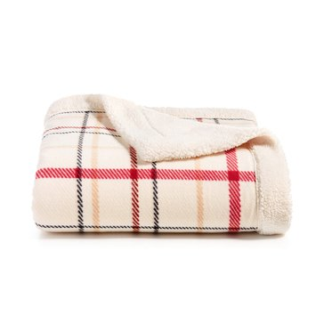 Martha Stewart Mink Sherpa Throw, Ivory Plaid