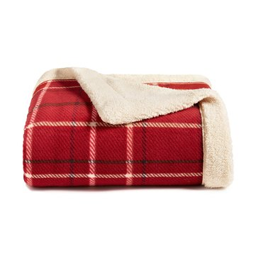 Martha Stewart Mink Sherpa Throw, Poinsettia Plaid