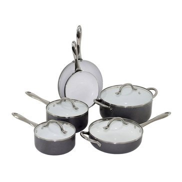 Oneida 10-Piece Ceramic Cookware Set, Gray