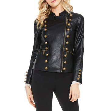Vince Camuto Stand Collar Military Pleather Jacket in Black