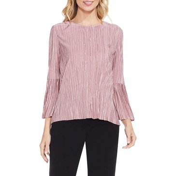 Vince Camuto Pleated Knit Bell Sleeve Crewneck Top in Iced Rose