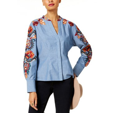INC International Concepts Long Sleeve Button Down Blouse in Chambray