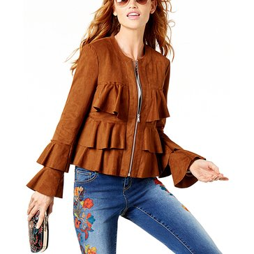 I.N.C. International Concepts Women's Faux Suede Ruffle Jacket in Sienna Brown
