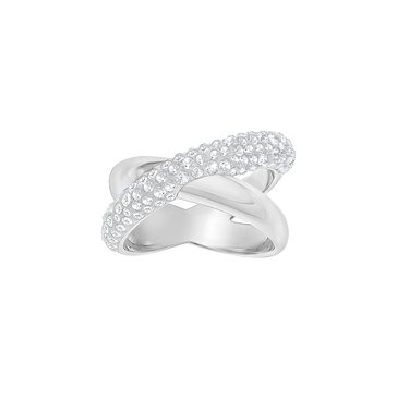 Swarovski Crystaldust Cross Ring, Rhodium Plated