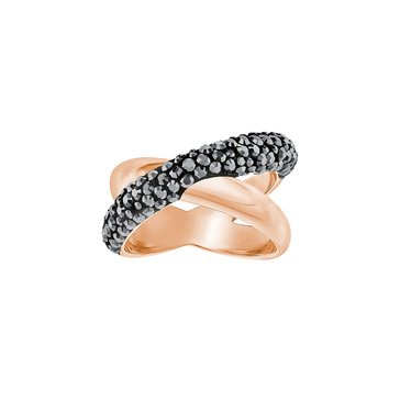 Swarovski Crystaldust Jet Cross Ring, Rose Gold Plated