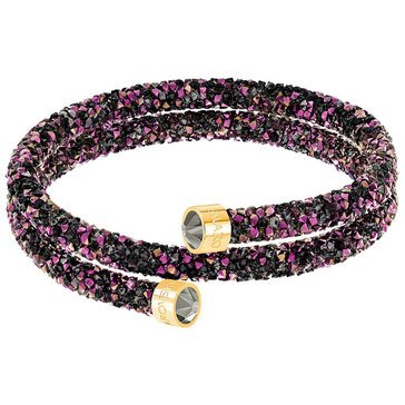Swarovski Crystaldust Jet Double Bangle, Gold Plated