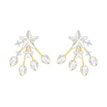 Swarovski History Jacket Earrings, Rhodium & Gold Plated