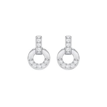 Swarovski Circle Stud Earrings, Rhodium Plated