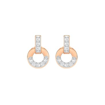 Swarovski Circle Stud Earrings, Rose Gold Plated