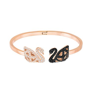 Swarovski Facet Swan Bangle, Rose Gold Plated