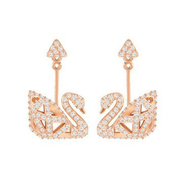 Swarovski Facet Swan Dual Earrings, Rose Gold Plated