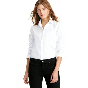 Lauren Ralph Lauren Women's Long Sleeve Aaron No Iron Classic Woven Button Down Shirt in White