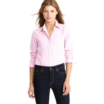 Lauren Ralph Lauren Women's Long Sleeve Aaron No Iron Striped Shirt in Pink/White