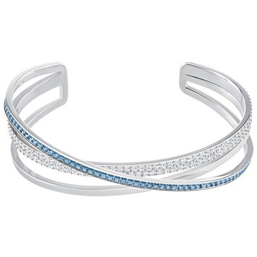 Swarovski Hero Cuff, Teal, Rhodium Plated