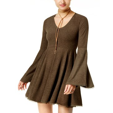 American Rag Solid Knit Fit N Flare Dress in Dusty Olive
