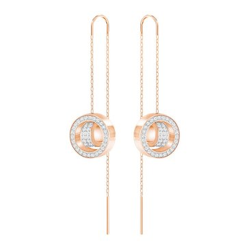 Swarovski Hollow Long Earrings, Rose Gold Plate