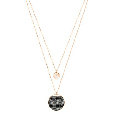 Swarovski Ginger Layered Pendant, Gray Rose Gold Plating