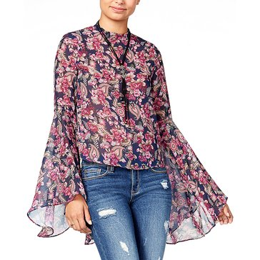 American Rag Long Sleeve Mesh Swirl Bell Sleeve Top in Bright Indigo