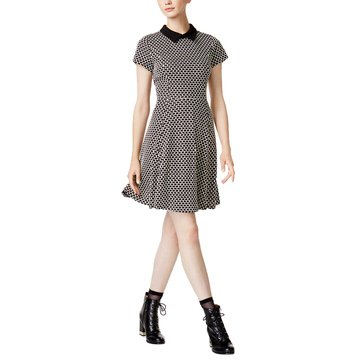 Maison Jules Short Sleeve Collar Jacquard Fit N Flare Dress in Black Comb