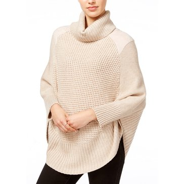 Maison Jules Suede Inset Poncho in Heather Camel