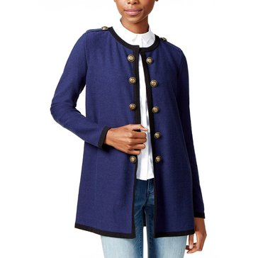 Maison Jules Women's Military Duster Cardigan Sweater in Blu Notte
