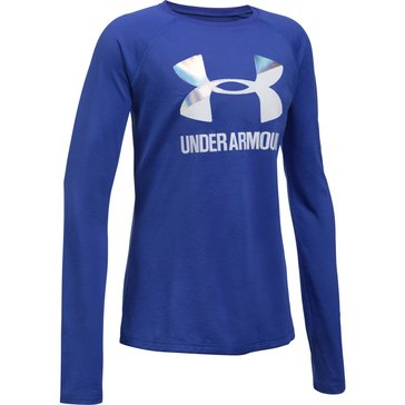 Under Armour Big Girls' Big Logo Slash Tee, Purple