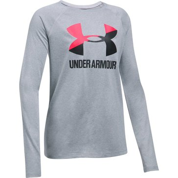 Under Armour Big Girls' Big Logo Slash Tee, Grey