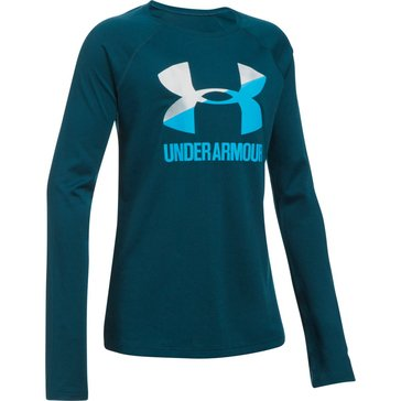 Under Armour Big Girls' Big Logo Slash Tee, Silver